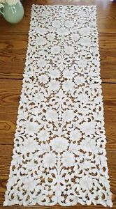 Exquisite Antique Estate Madeira Cutwork Lace Table Runner 10 Placemats | Vintageblessings