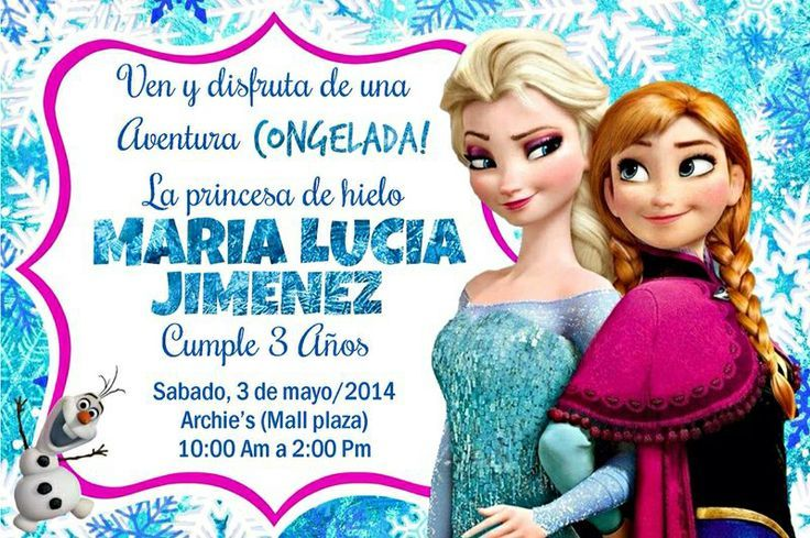 Pin De Ureña Oneiry En Anicha Invitaciones De Frozen