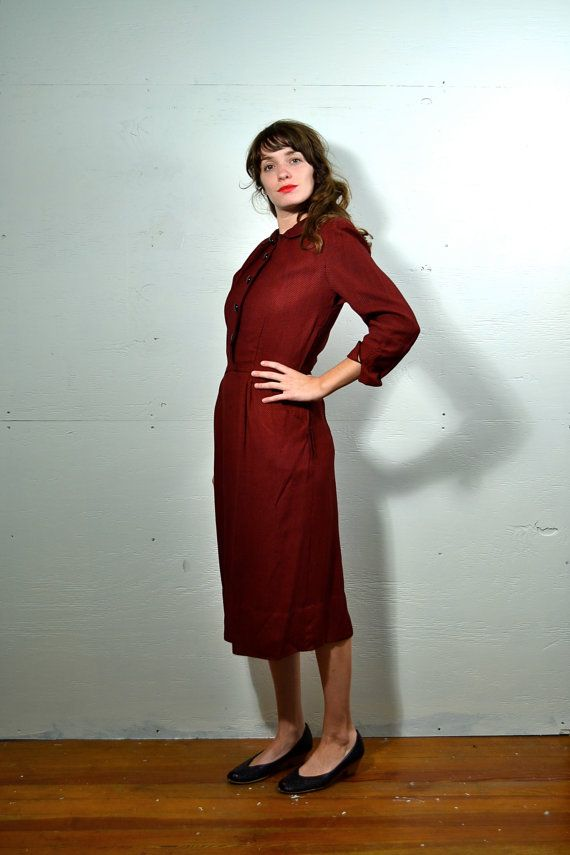 1940s Red and Black Wool Shirtwaist // Small // by SpanoVintage, $29.00