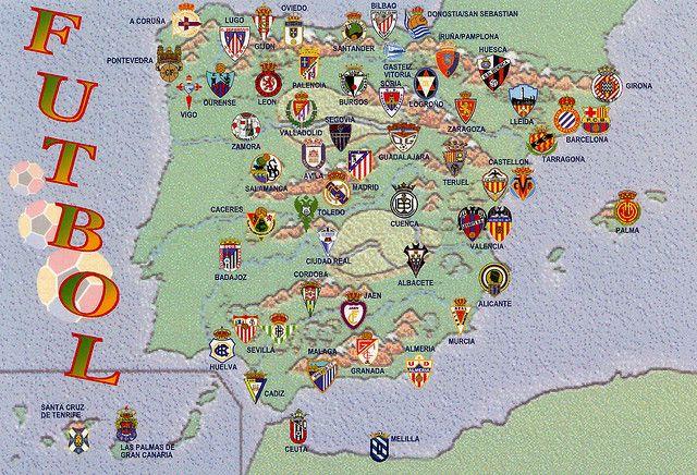 Football Map Of Spain.Spain Futbol Map Card 3 For Trade Sports Spain Football