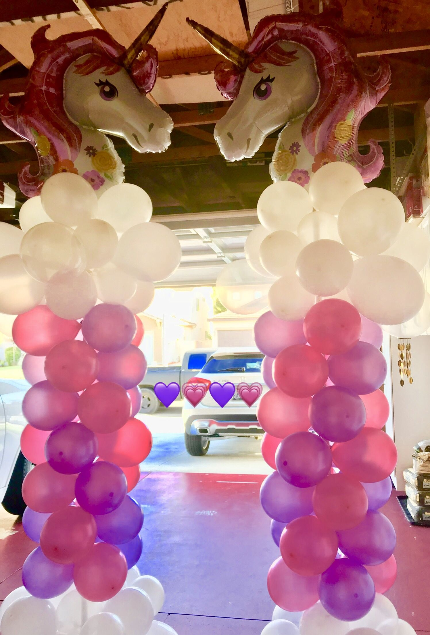 Magical Unicorn Balloon Pillars Unicorn Party Ideas Unicorn Balloon Columns Balloon Decorations Event Decor Balloons