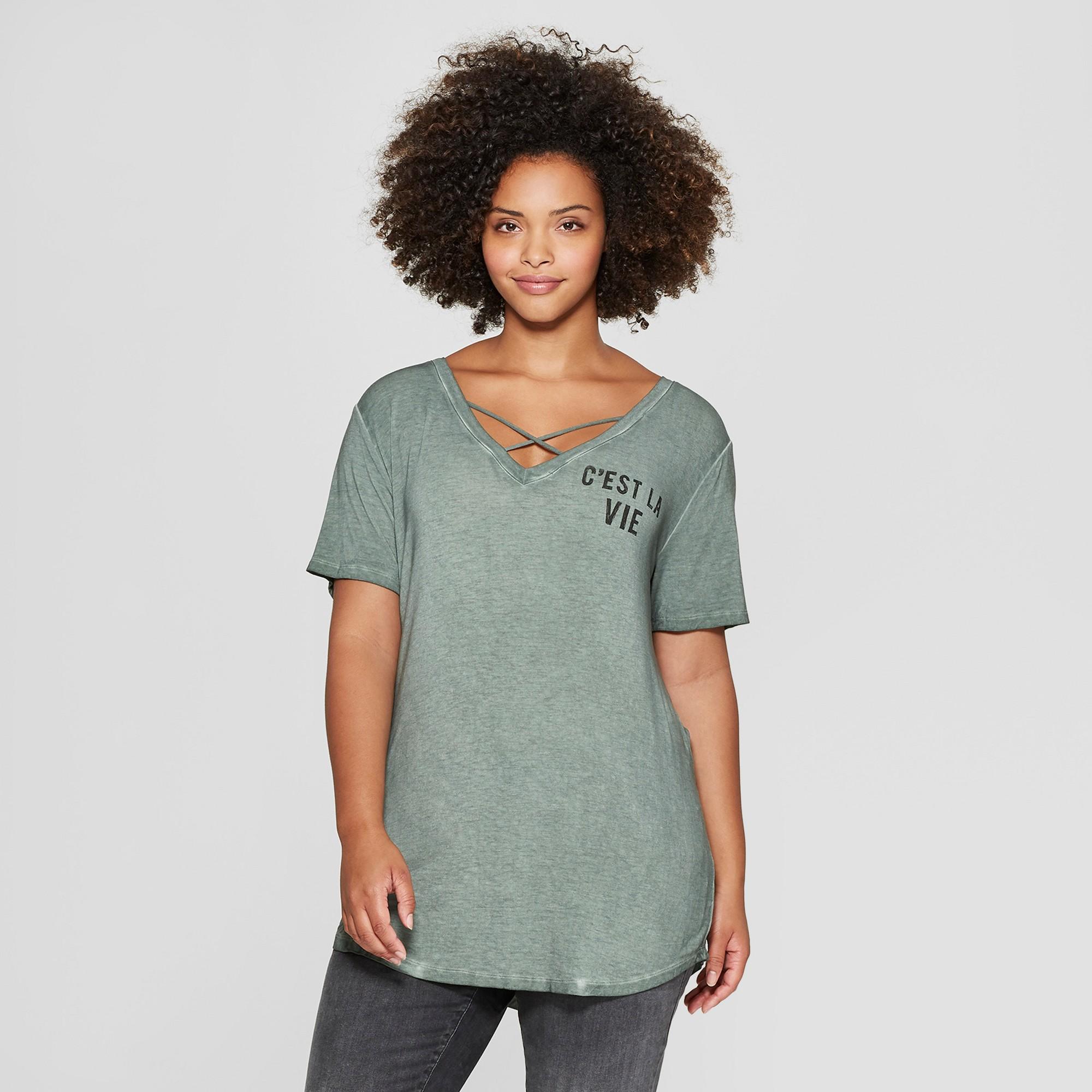 7c22708b8 Women's Plus Size Short Sleeve C'est La Vie Criss Cross Graphic T-Shirt -  Zoe+Liv (Juniors') Green 1X
