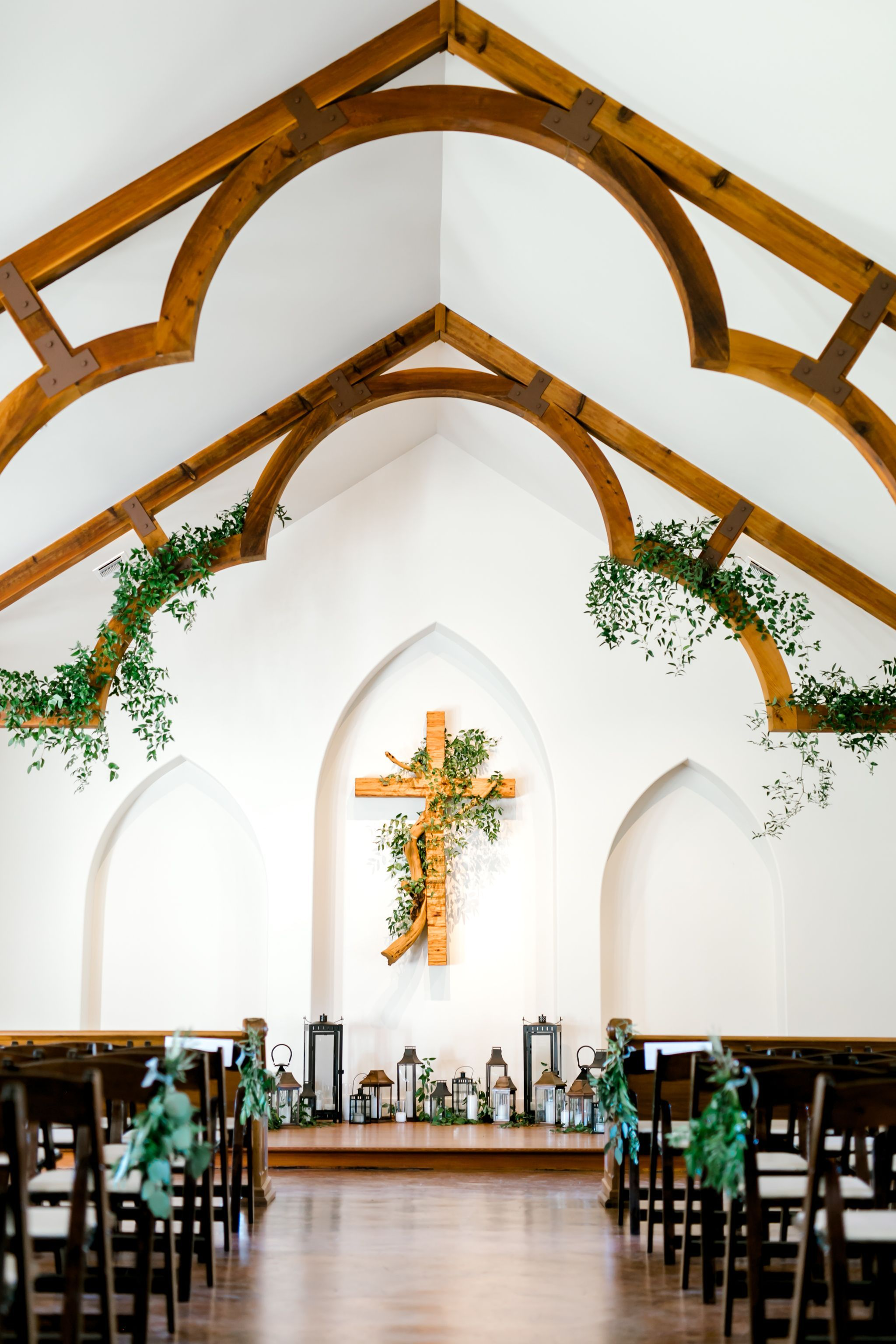 Simple + elegant white chapel wedding at Heritage Haus! L