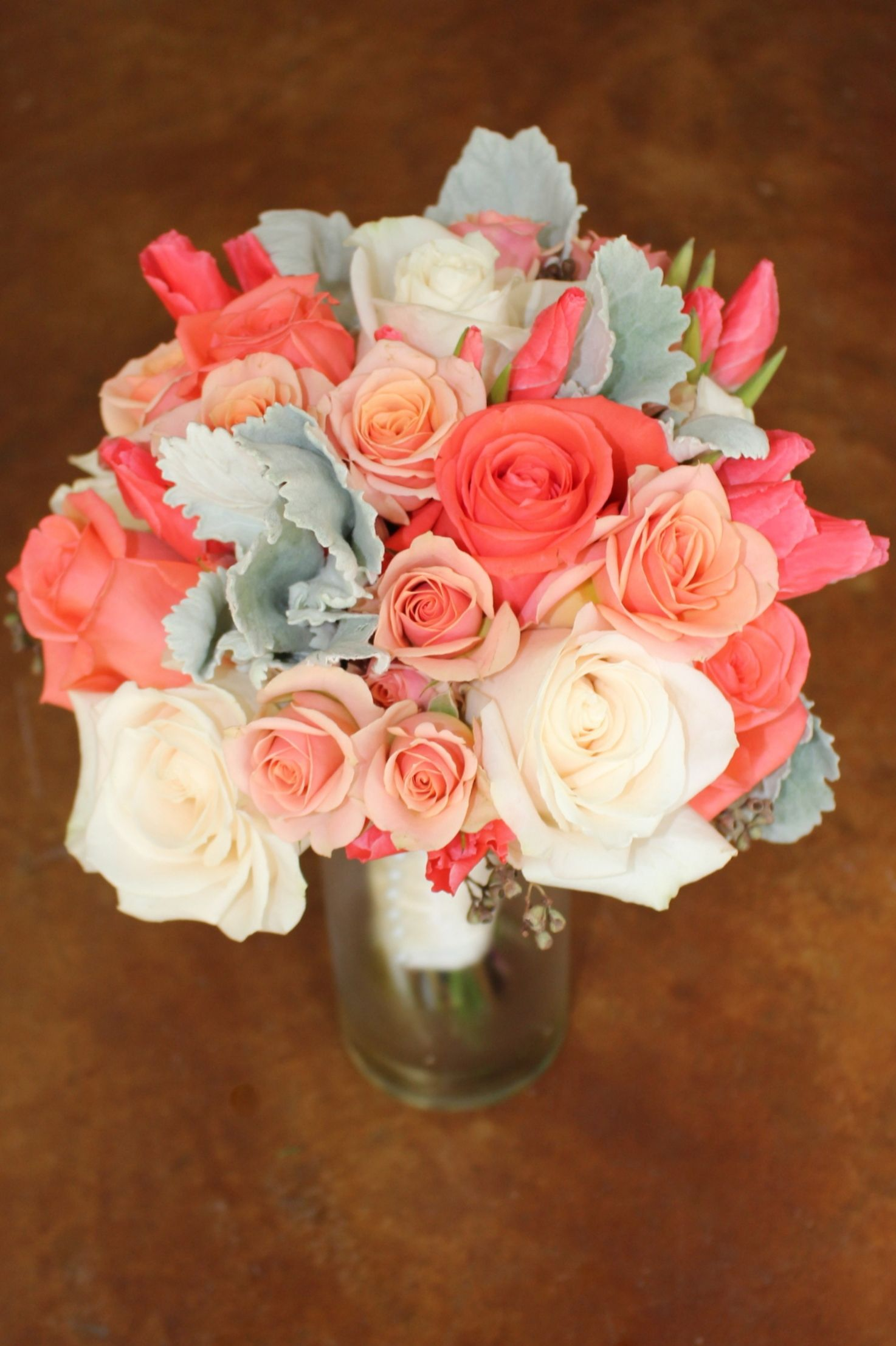 Coral Peach Ivory Bouquet With Roses Godetia And Dusty Miller Ivory Bouquets Bridesmaid Bouquet Bouquet