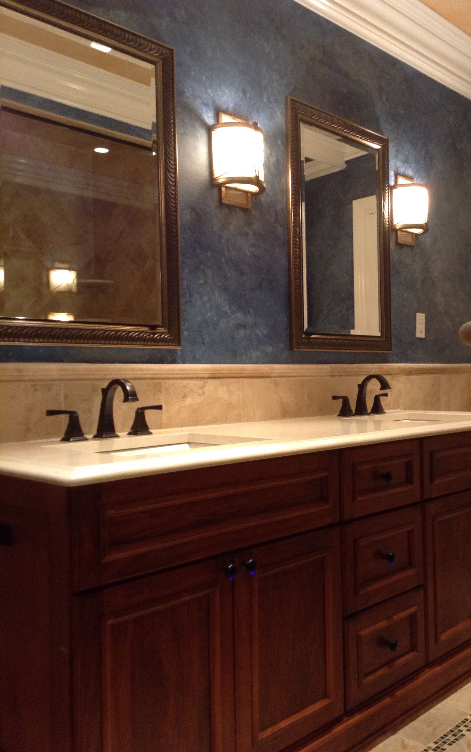 blue walls with dark cabinets by SHD   Bathroom, Timeless ...