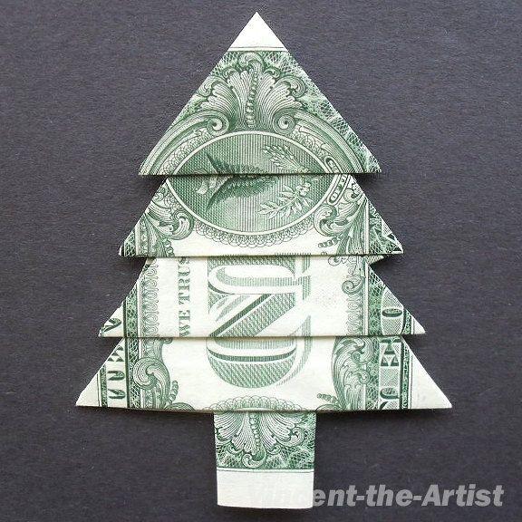 Money Origami CHRISTMAS TREE Craft - Money Origami CHRISTMAS TREE Craft Sewing Pinterest Money