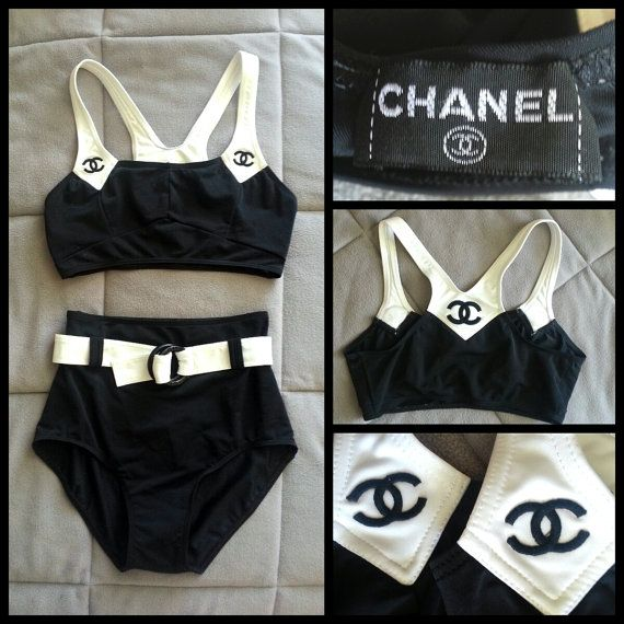 b42b373d82d04e CHANEL Authentic CC Logo Iconic Rare Vintage High Waisted 2 Piece Sports  Bra Nana Bathing Suit Bikini w/ Belt