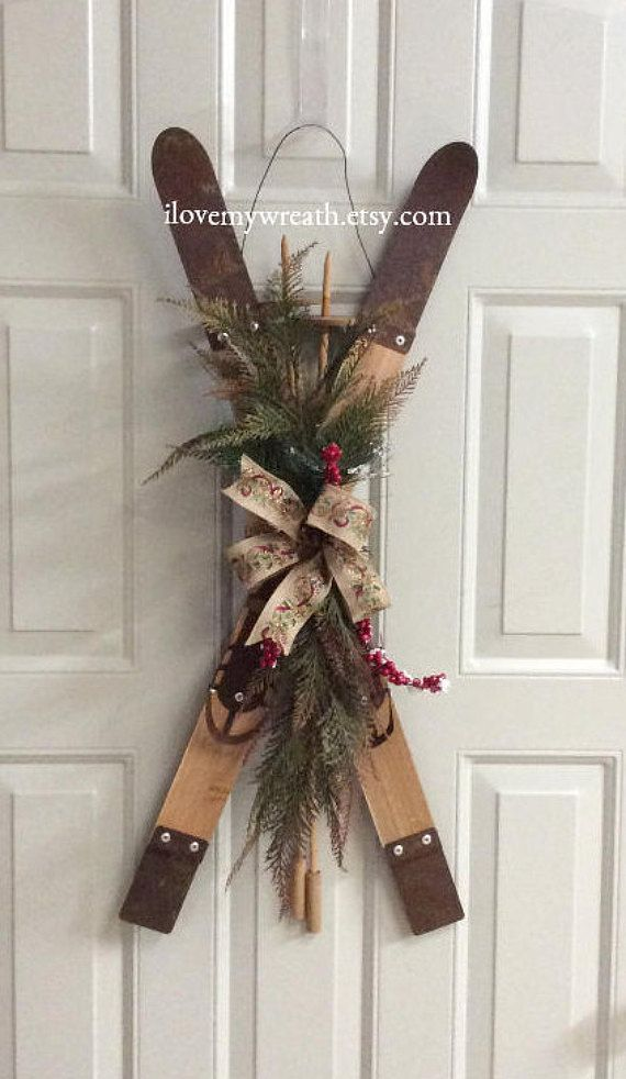 Primitive Wooden Skis Rustic Ski Decor Holiday Decorative