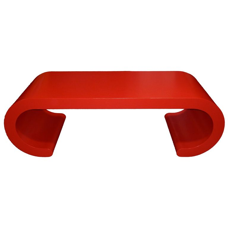 Chic Red Lacquer Scroll Coffee Table
