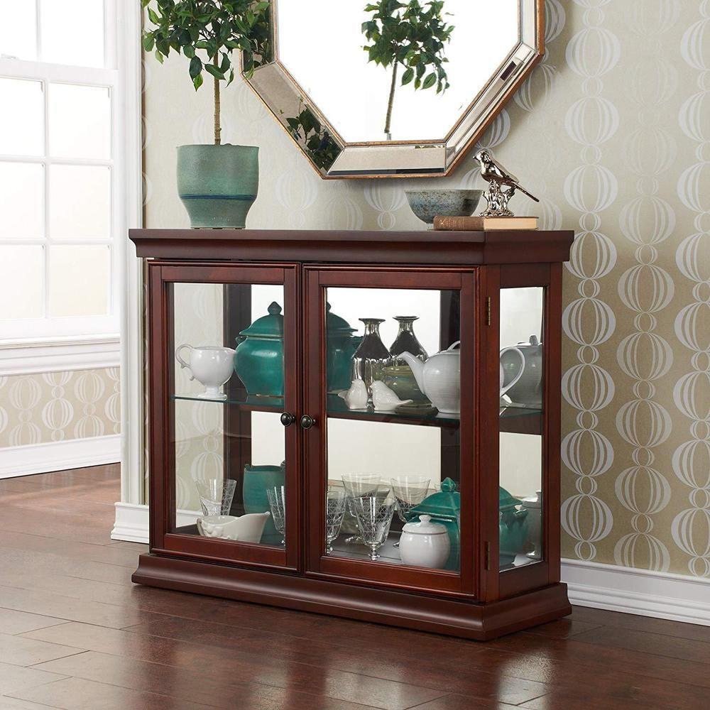 Wooden Glass Display Case Durable Vintage Stand Cabinet Curio Mirrored Shelves Woodenglassdisplay Vintag Idei Dlya Ukrasheniya Steklyannye Polki Antikvarnyj Shkaf