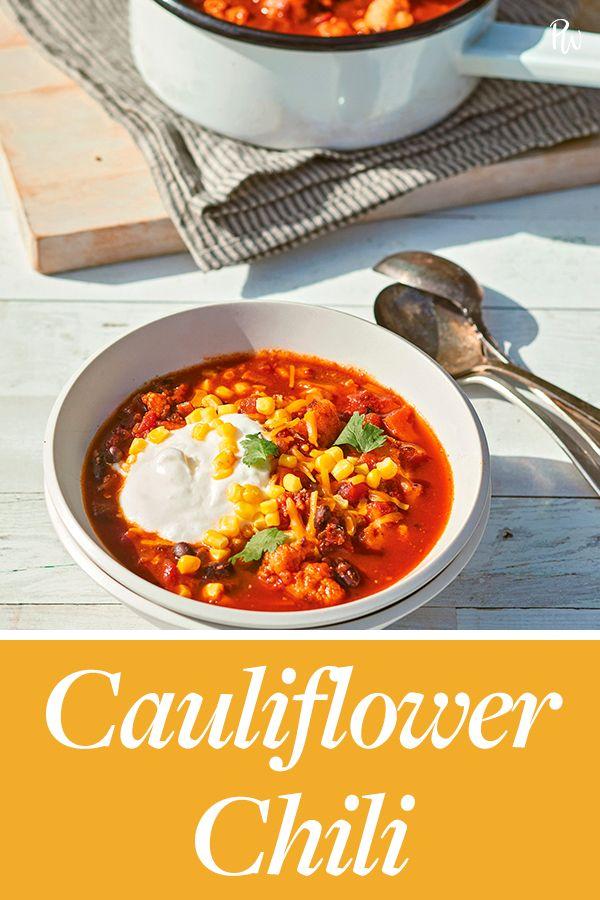 Cauliflower Chili #purewow #dairy-free #under 500 calories #dinner #vegan #food #vegetarian #cauliflower #easy #gluten-free #vegetable #recipe #cooking #main course