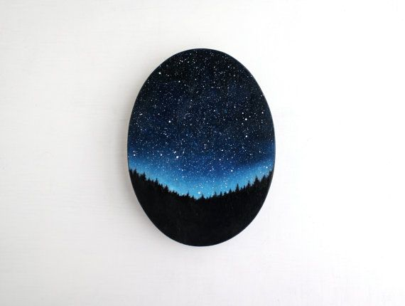Night Sky Oval Oil Painting by TreeHollowDesigns on Etsy, $85.00