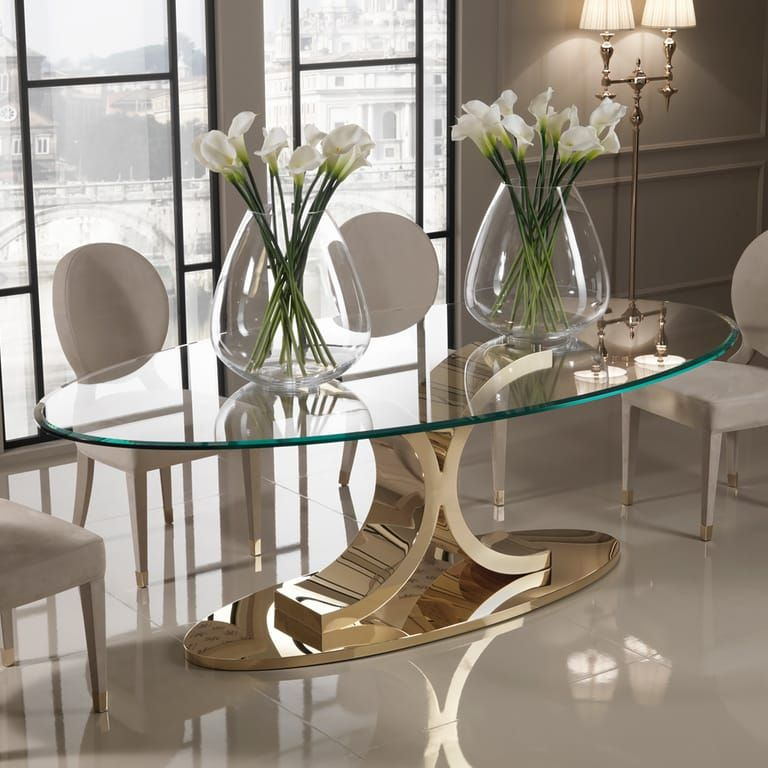 Designer 24 Carat Gold Plated Oval Glass Dining Table Juliettes Interiors Glass Dining Set Glass Dining Table Oval Glass Dining Table