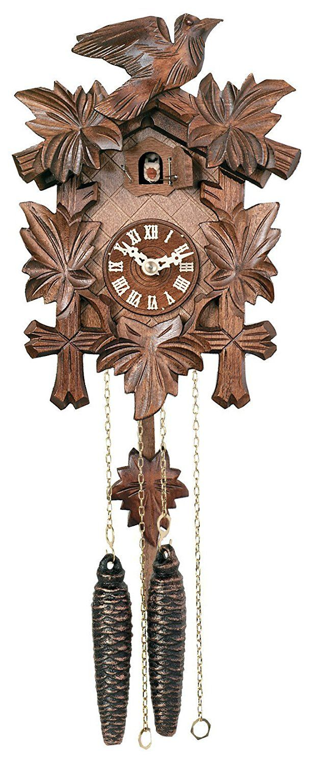 Amazon Com River City Clocks One Day Hand Carved Cuckoo Clock With Five Maple Leaves Amp One Bird 9 Inches Tall Model 11 Cuckoo Clock Clock Wall Clock