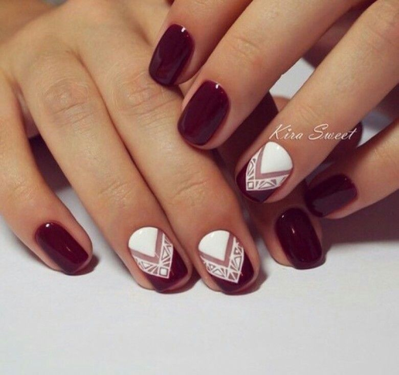Stand out with this amazing white and maroon nail art design. Step up your  nail polish game by adding tweaks of creativity into your regular white and  ... - Pin By Алена Леонтьева On Дизайн ногтей Pinterest