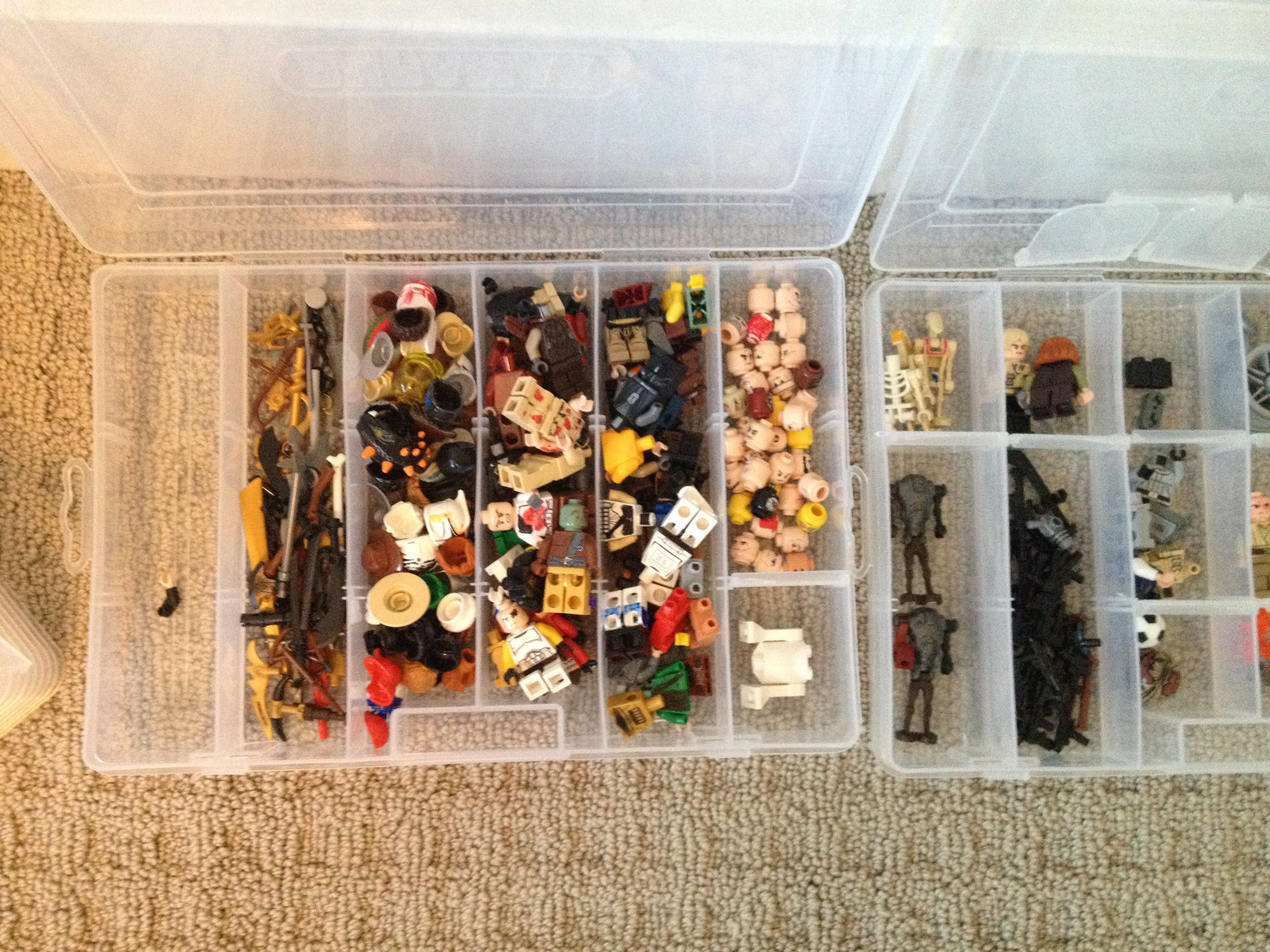We Used Stackable Dollar Store Tackle Boxes To Help Sort The Lego Heads Bodies And Pieces For
