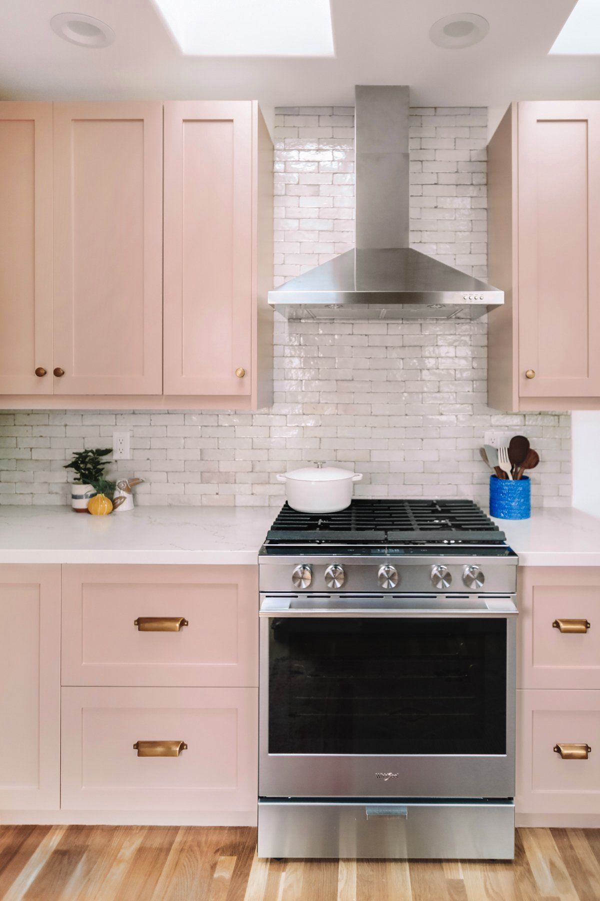 Beautiful Soft Blush Kitchen from Studio DIY - Pink kitchen cabinets, Eclectic kitchen, Kitchen cabinet trends, Kitchen renovation, Pink kitchen, Custom kitchens - Design Studio DIY Photographer Jeff Mindell Location Los Angeles, CA Paint color DunnEdwards Galveston Tan