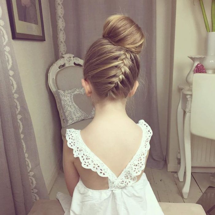 Back View Of A Braided Hairstyle With A Blonde Side Braid And A Bun On Top Of The Head Wor Little Girl Hairstyles Flower Girl Hairstyles Headband Hairstyles