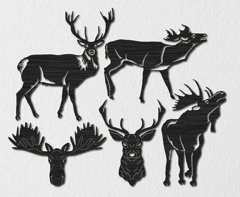 Free Deers and Mooses -DXF files Cut Ready CNC Designs - DXFforCNC