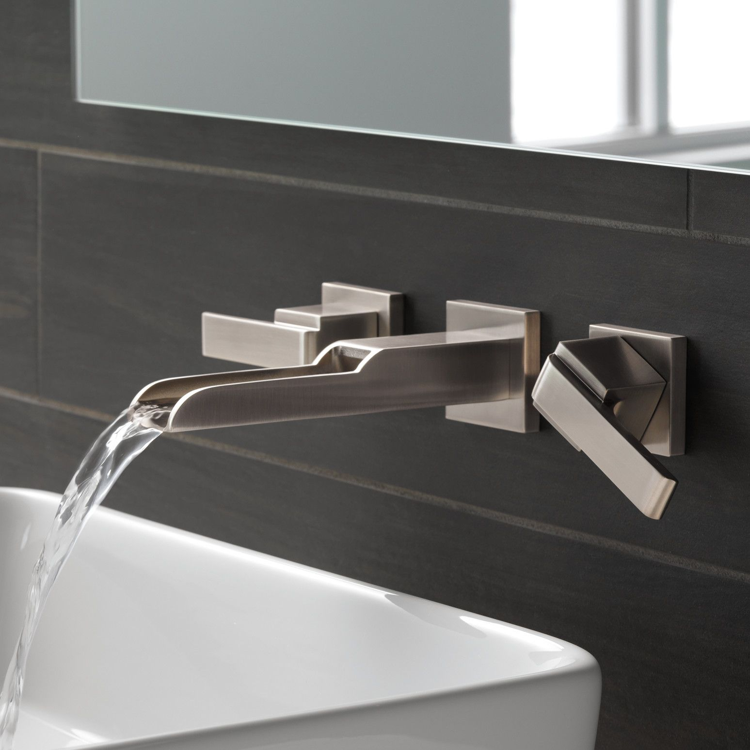 Ara Two Handle Wall-Mount Lavatory Faucet with Channel Spout ...