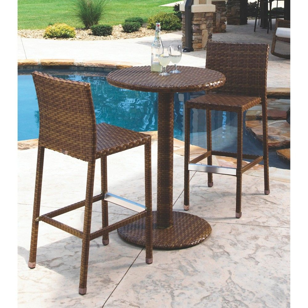 Panama Jack St. Barths 3 Piece Wicker Bar Height Patio Furniture Set