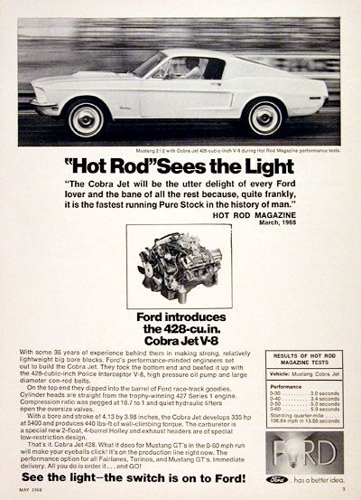 1968 Ford Mustang 2 2 Vintage Ad Hot Rod Magazine Sees The Light