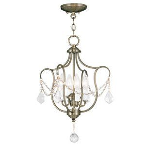 Livex Lighting 6434-01 Chesterfield Convertible Chain Hang/Ceiling Mount in Antique Brass