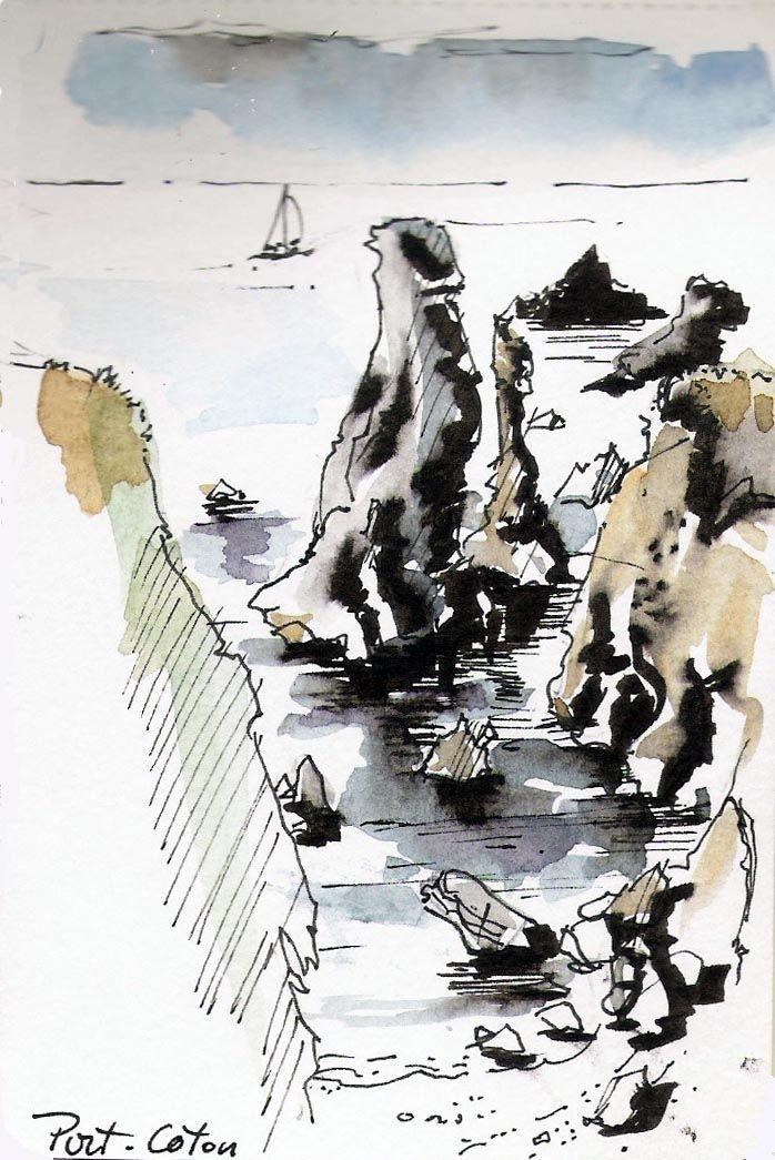 Port Coton Les Rochers Belle Ile En Mer Feutre Et Aquarelles