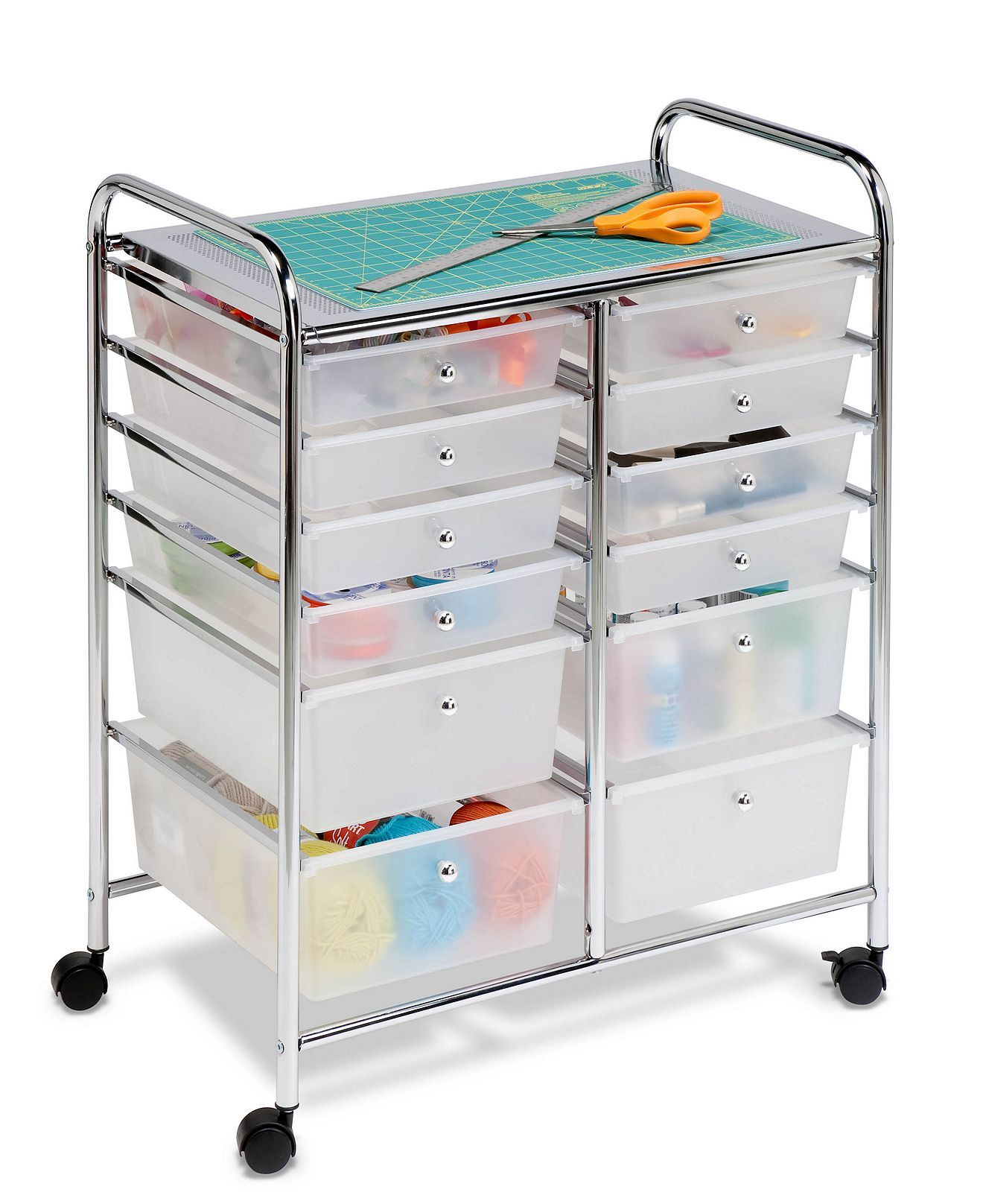 Rolling Storage Cart And Organizer 12 Plastic Drawers Organization Cart Home Office Organization Plastic Drawers