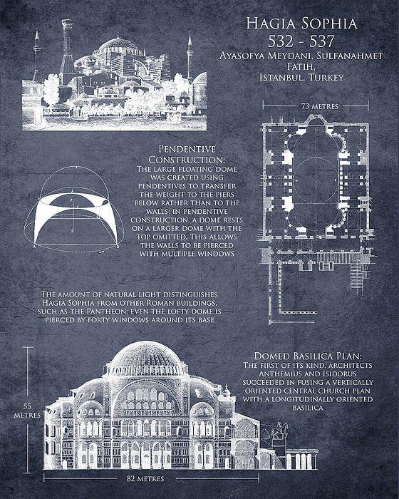 Hagia Sophia Art Historical Blueprint Print By Sara Harris