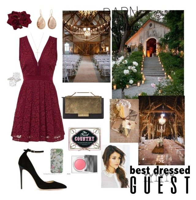"""""""Wedding Guest"""" by dbellz ❤ liked on Polyvore featuring Free People, J. Mendel, Jimmy Choo, Too Faced Cosmetics, Burberry, Tiffany & Co., Henri Bendel, Waterford, bestdressedguest and barnwedding"""