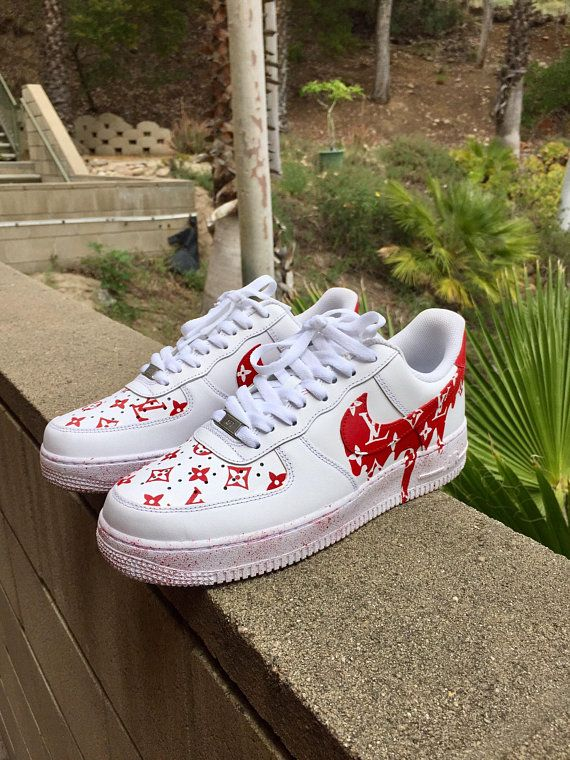 new product ce88d ba89d Dripping Red Louis Vuitton x Supreme Nike Air Force Ones