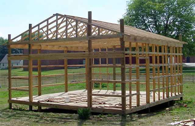 Wood pole barn google search pole barns pinterest for How to build a pole barn plans for free
