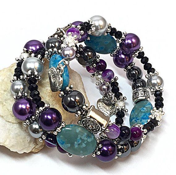 Christmas Gift for Wife - Blue  Purple Bracelet -Presents for Mom