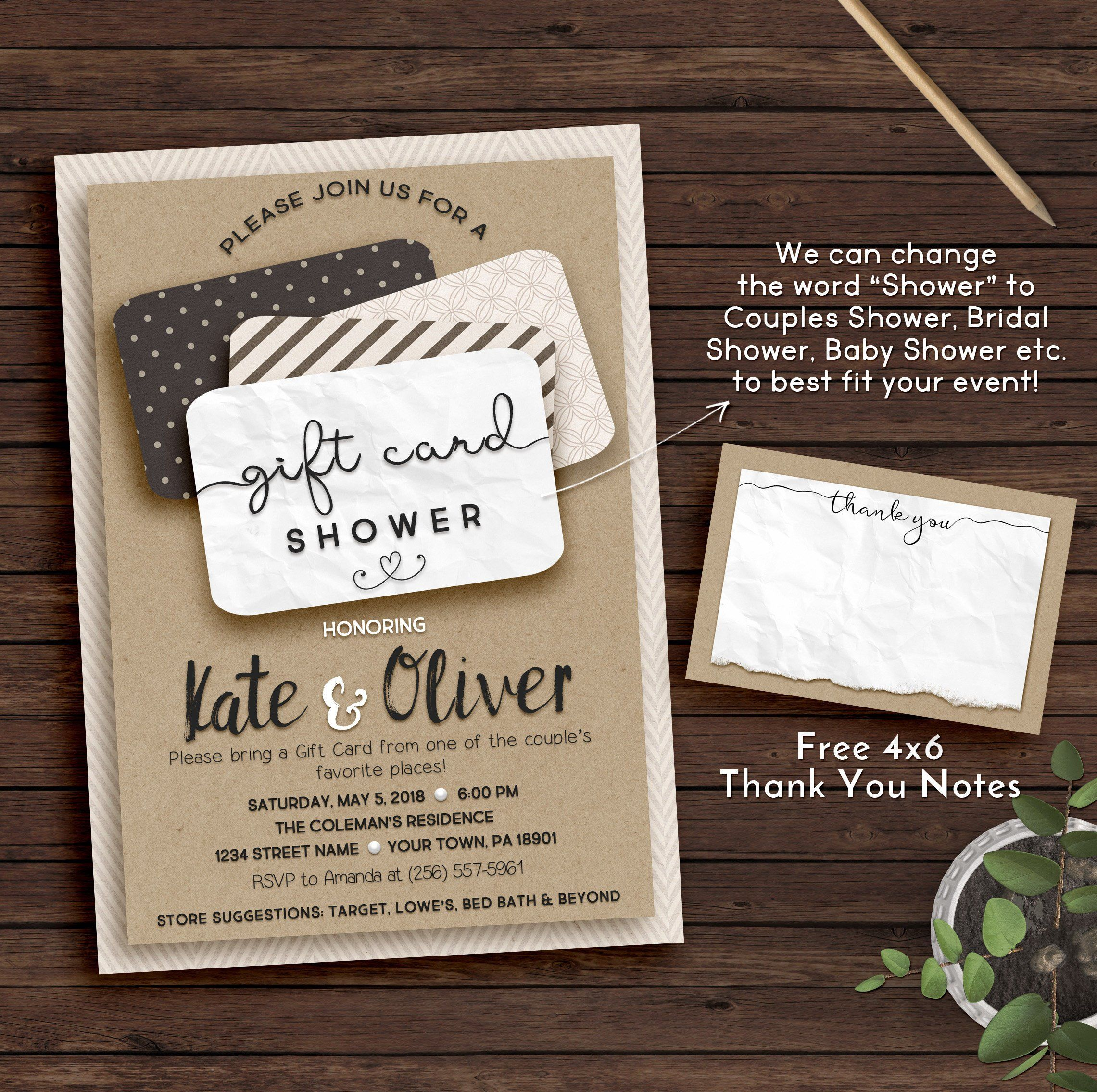 9a069db95559 Couples shower invitation gift card invitation printable