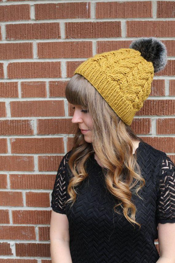 Wool & Acrylic Blend Yarn / Pom Pom Hat / Wool Hat / Faux Fur Pompom beanie / Slouchy Beanie / Gold / Yellow / Mustard / Honey /Cable Knit