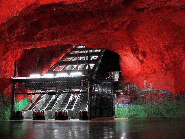 Solna Centrum subway station in Stockholm.