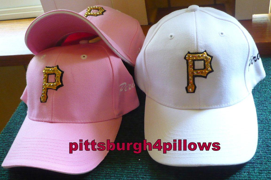 White baseball caps for crafts - 1 Ladies Pittsburgh Pirates Bling Baseball Caps 1 Pink Velcro Strap