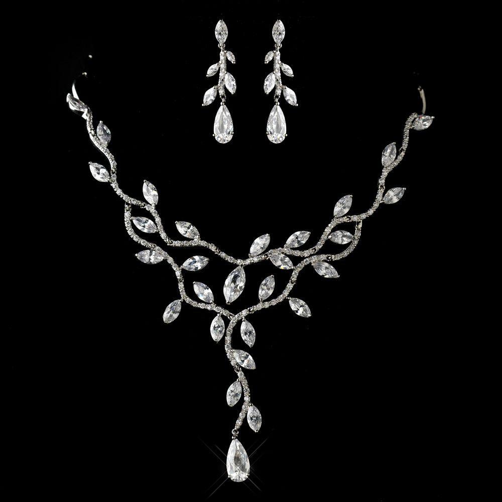 Antique Silver Clear CZ Crystal Leaf Vine Design Jewelry Set 1312