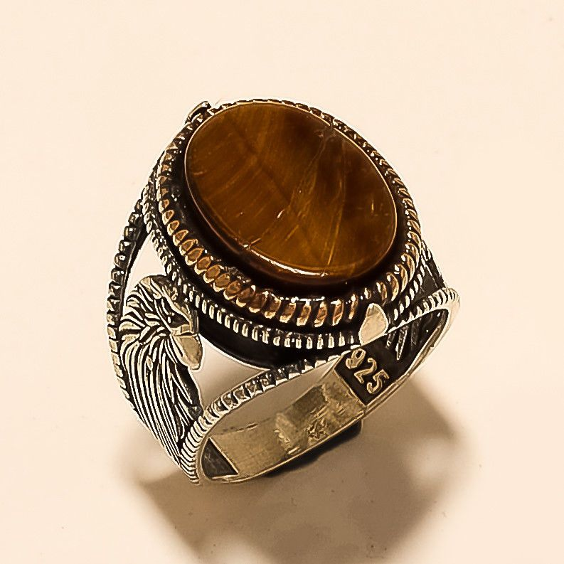 Real Brazilian Tiger Eye Eagle Face Signet Ring Sterling