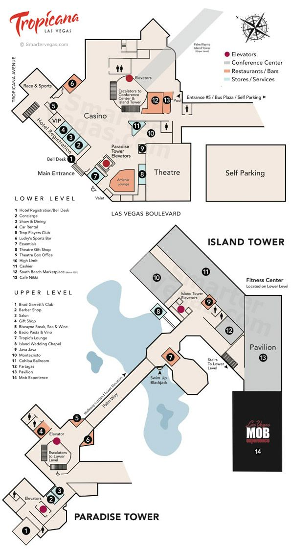 Tropicana Resort Casino Property Map Floor Plans Las Vegas Las