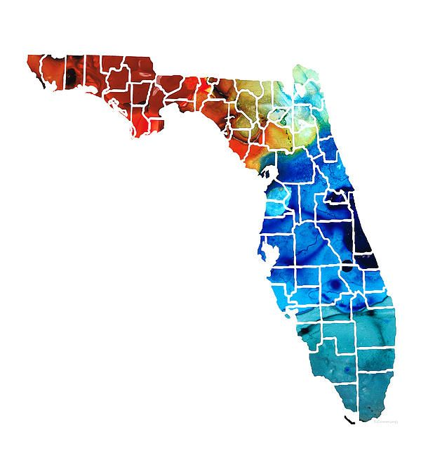 Florida Map With Counties.Florida Map By Counties Sharon Cummings Art By Sharon Cummings
