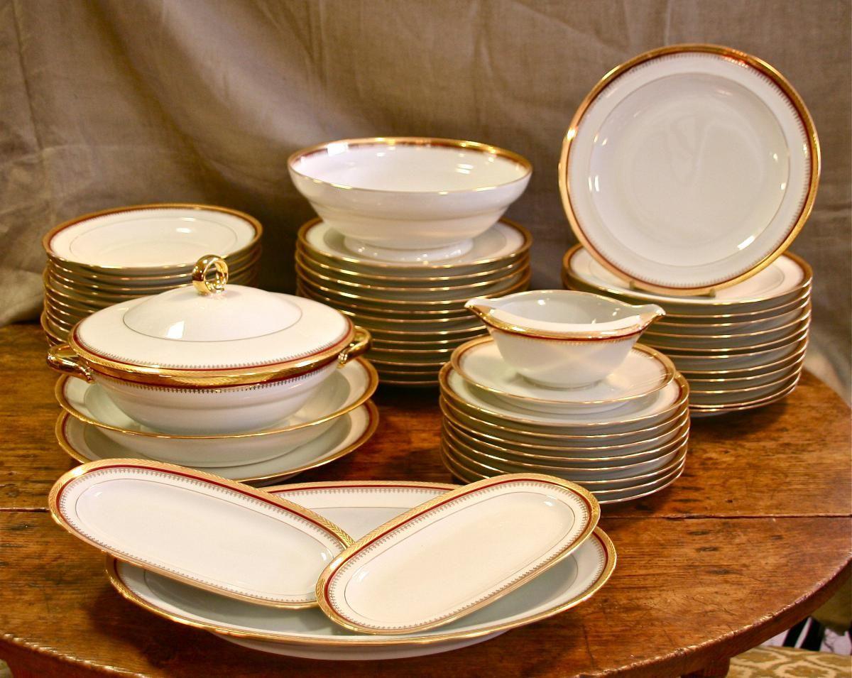 service de vaisselle en porcelaine de limoges mesas en. Black Bedroom Furniture Sets. Home Design Ideas