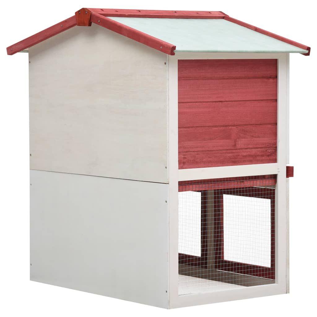 vidaXL Outdoor rabbit cage 3 doors red wood