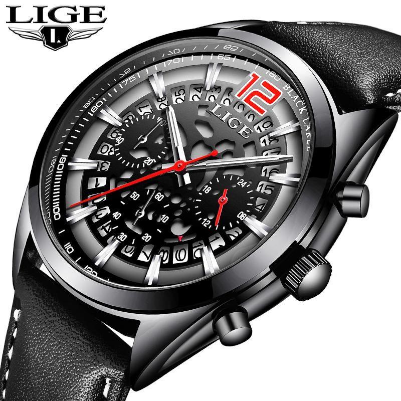 aa5517982b16 Mens Watches LIGE Top Brands Luxury Men s Military Sports Watches Men s  Waterproof Quartz Watches Timing Date