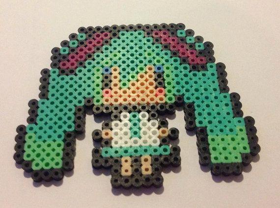 Miku Hatsune Vocaloid Perler beads by YattaCreations