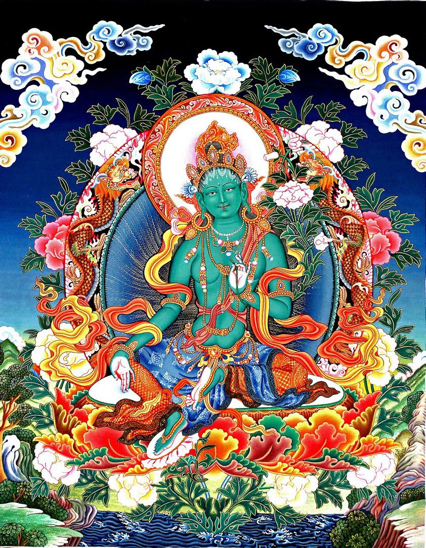 Green Tara Newari Thangka Painting