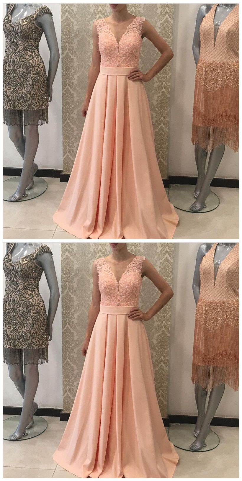 Aline v neck long prom dresspink lace prom prom in