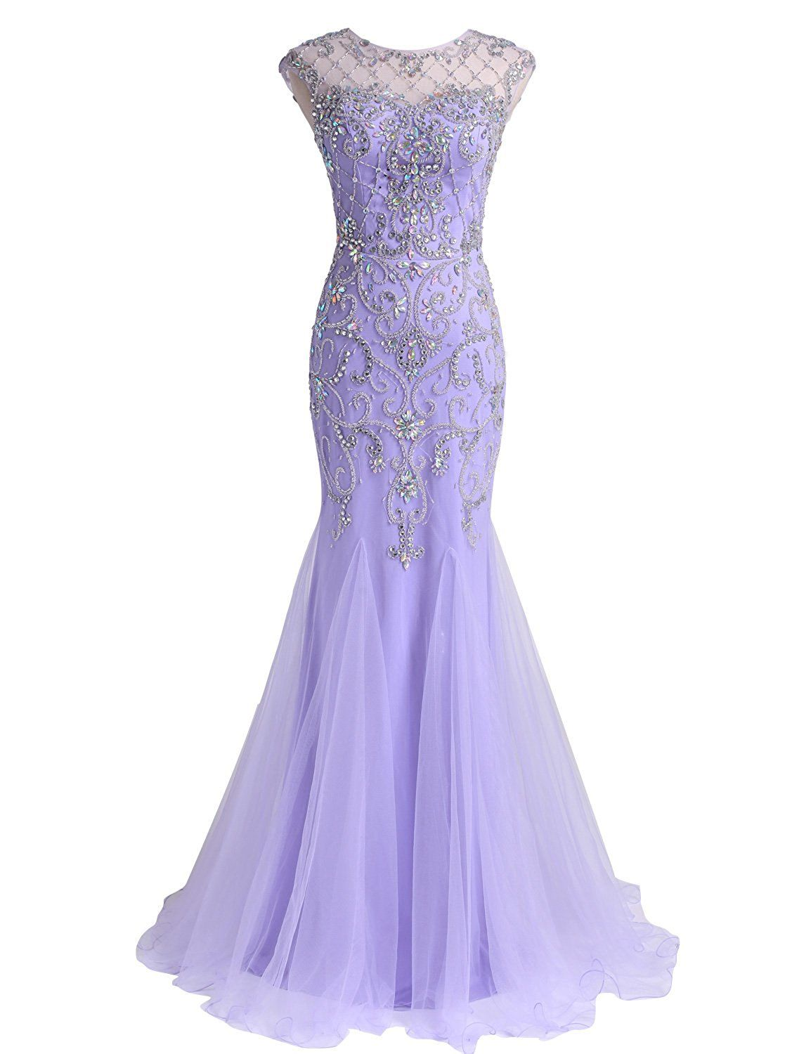 Lavender Beaded Mermaid Prom Dress with Illusion Sweetheart Neckline and  Sheer Open Back 99f31381d936