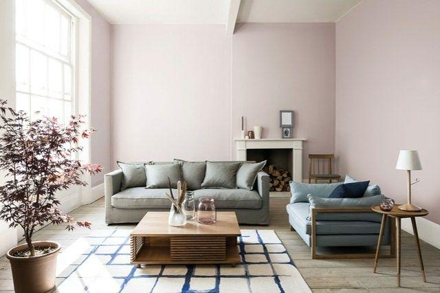 Modern Wohnen Idee Wohnzimmer Rosa Farbe Kaffeetisch